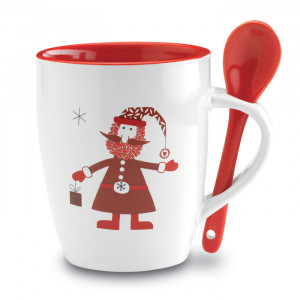 CLAUS, keramička šalica s žlicom s ukrasom Djeda Mraza
