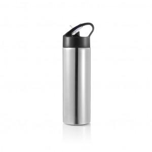 Sportska boca sa slamkom 450ml, srebrne boje