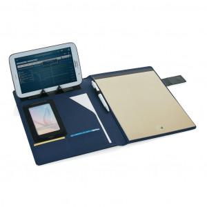 A4 portfolio s magnetnim zatvaračem, sadrži unutarnji stalak za mobitel ili tablet, pretince za kartice i notes, crne boje