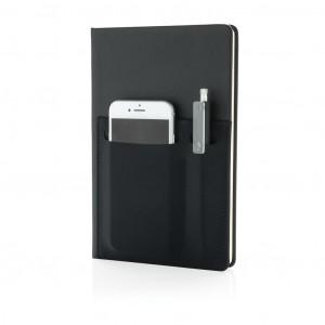 A5 Deluxe bilježnica s pametnim džepovima, crne boje